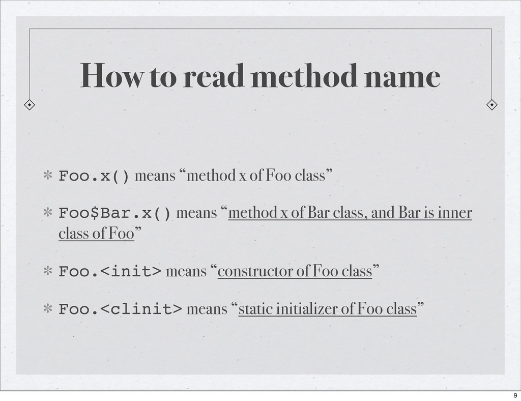 "How to read method name Foo.x() means ""method x..."