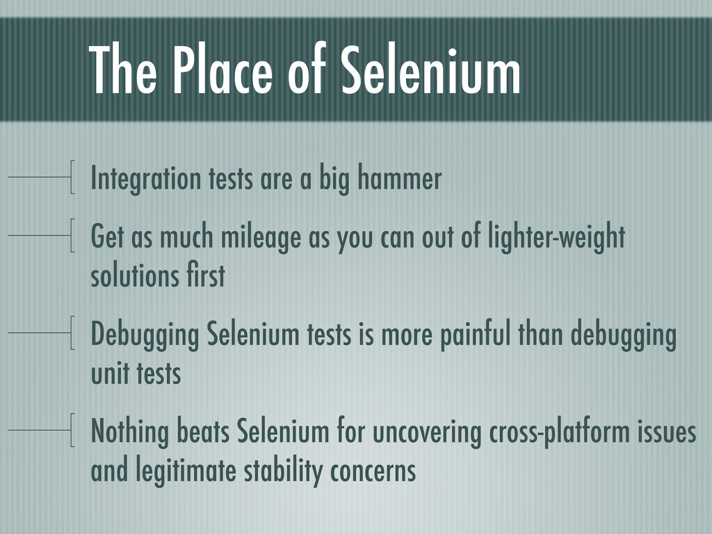 The Place of Selenium Integration tests are a b...