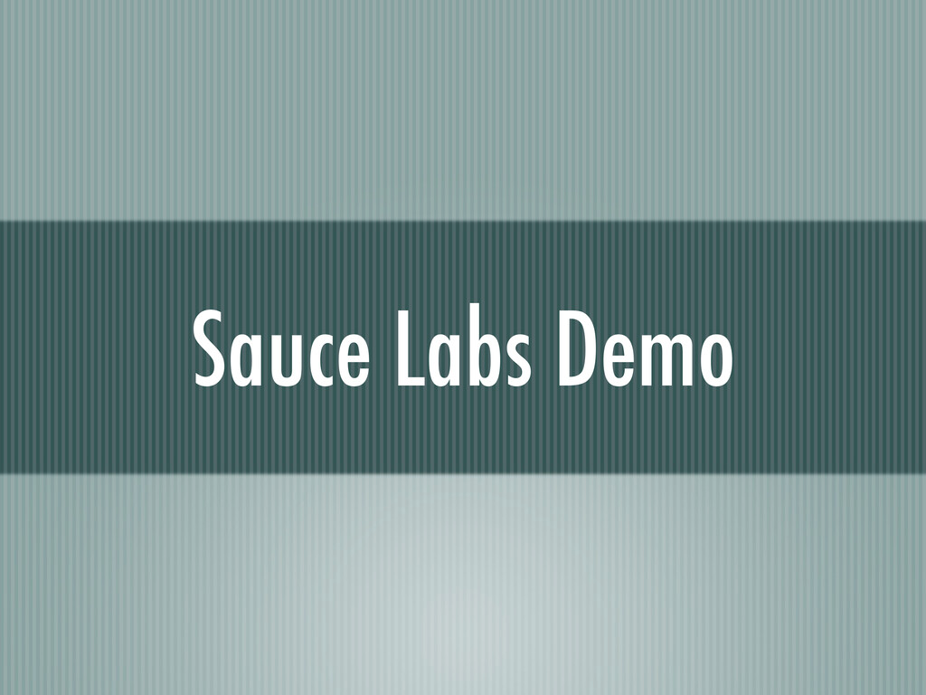 Sauce Labs Demo