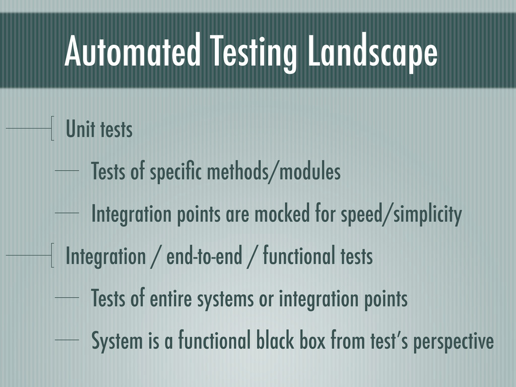 Automated Testing Landscape Unit tests Tests of...