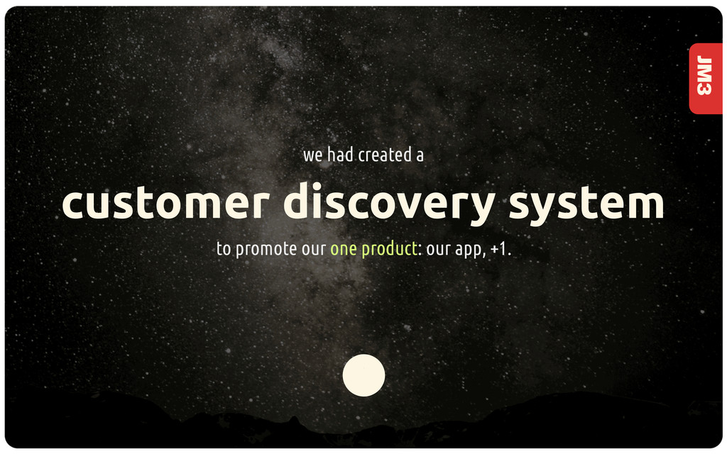 JM3 customer discovery system to promote our on...