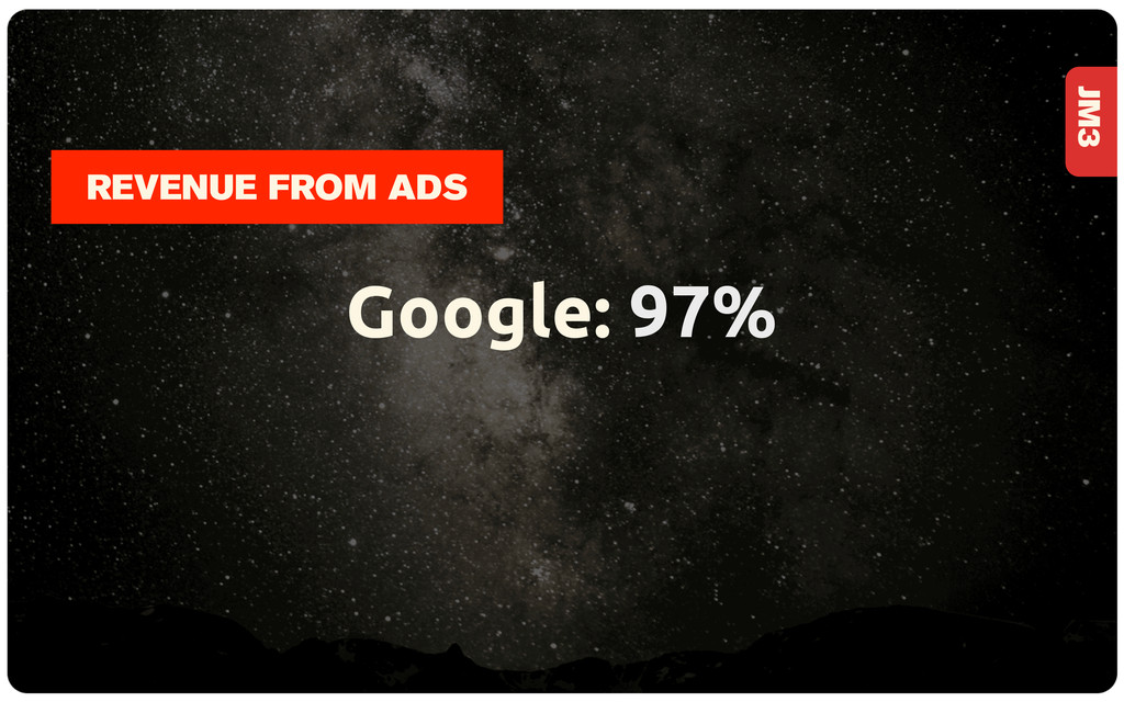 JM3 Google: 97% REVENUE FROM ADS