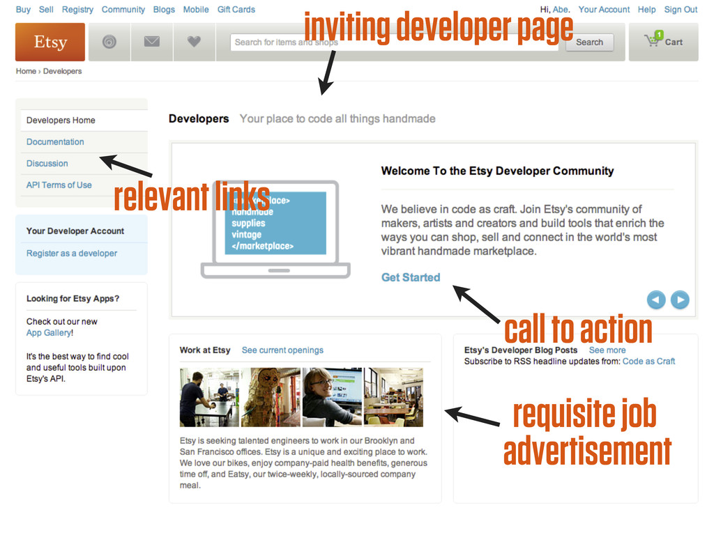inviting developer page call to action relevant...