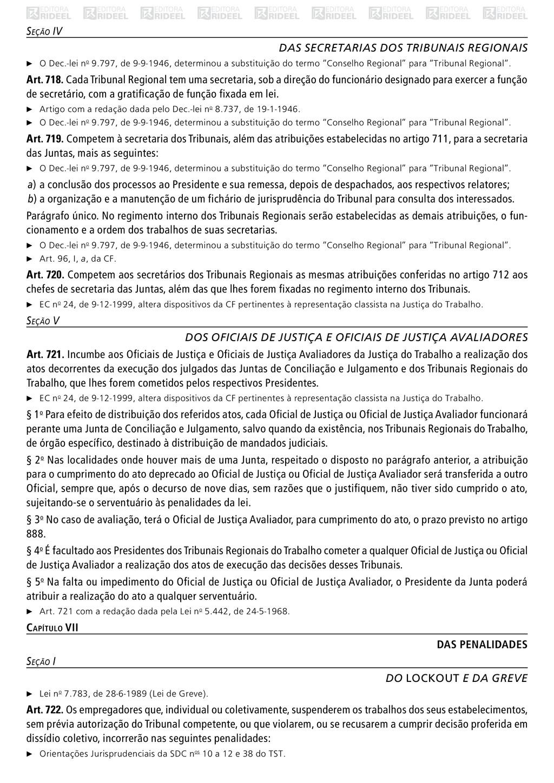Seção IV Das Secretarias dos Tribunais Regionai...