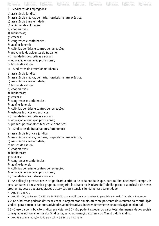 II – Sindicatos de Empregados: a) assistência j...