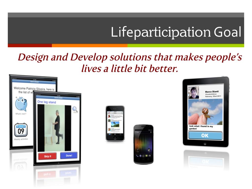 Lifeparticipation Goal  Design and Develo...
