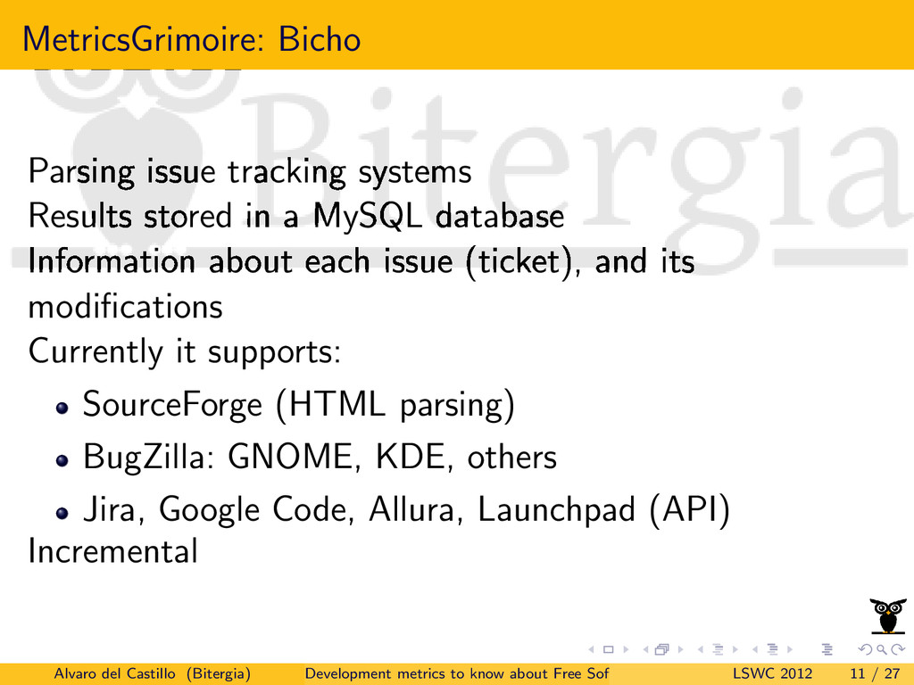 MetricsGrimoire: Bicho Parsing issue tracking s...