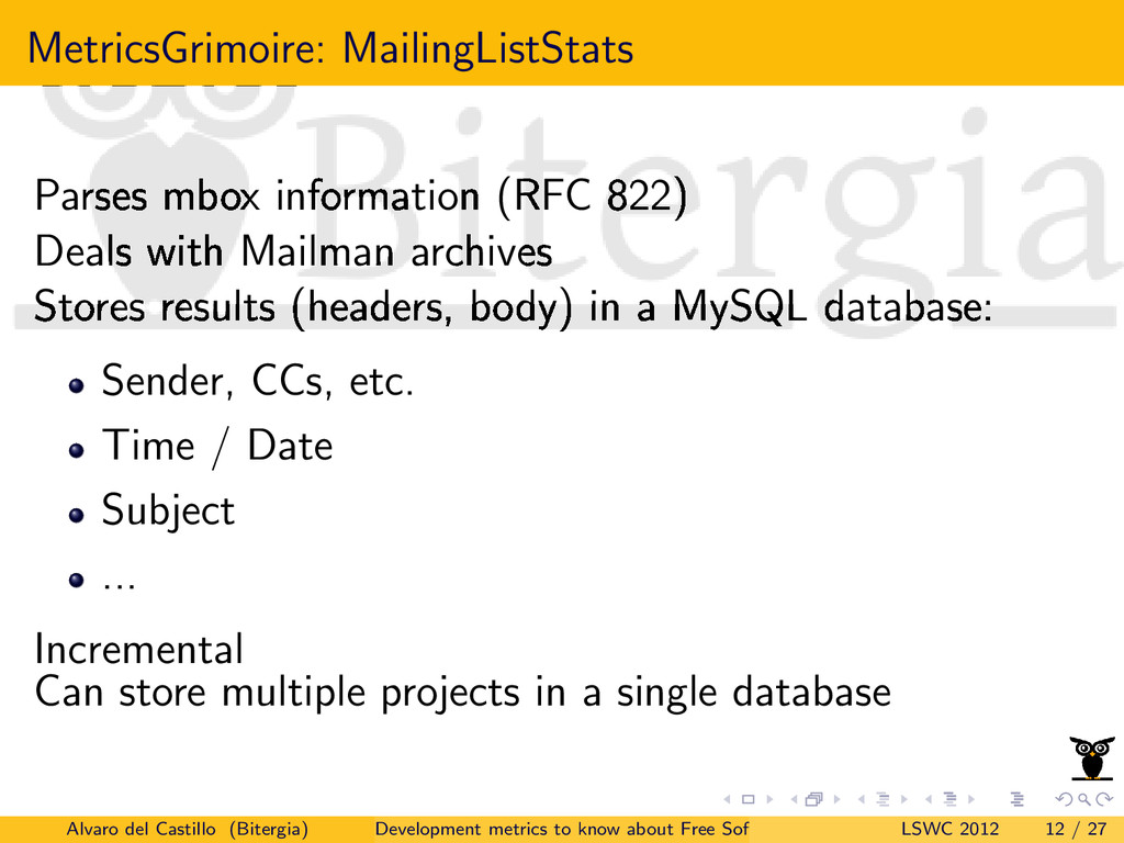 MetricsGrimoire: MailingListStats Parses mbox i...