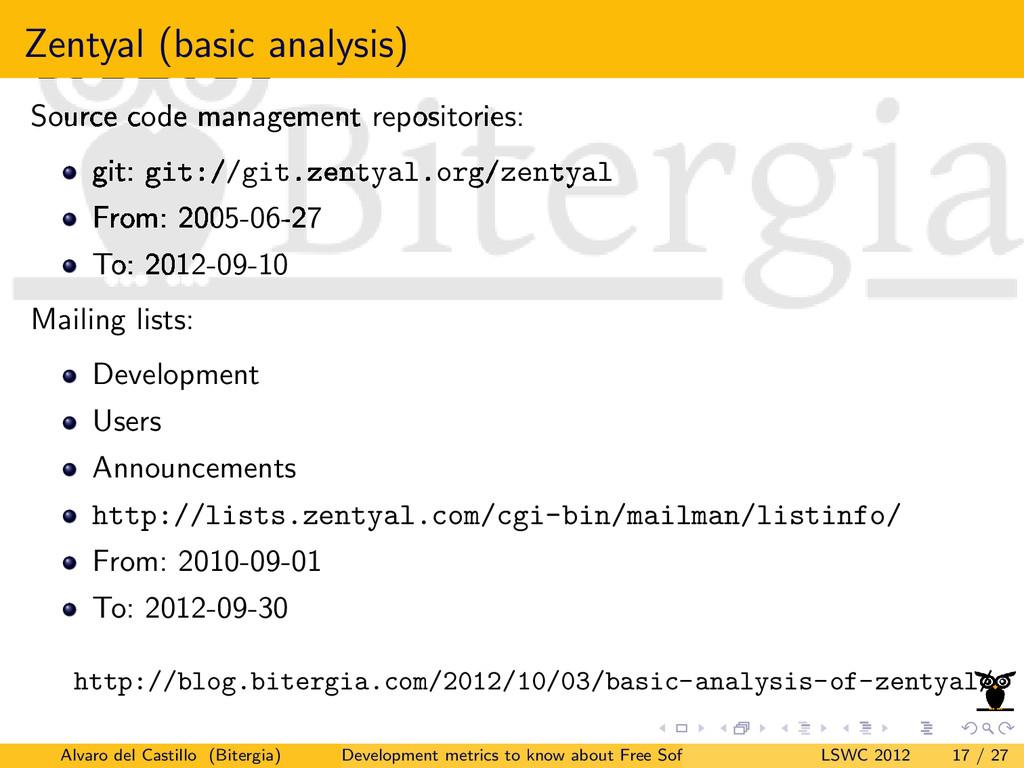 Zentyal (basic analysis) Source code management...