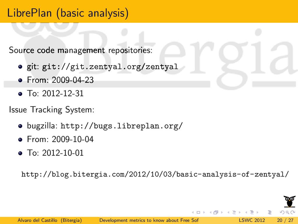 LibrePlan (basic analysis) Source code manageme...
