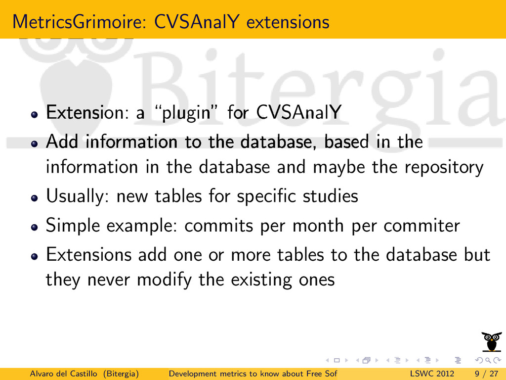 MetricsGrimoire: CVSAnalY extensions Extension:...