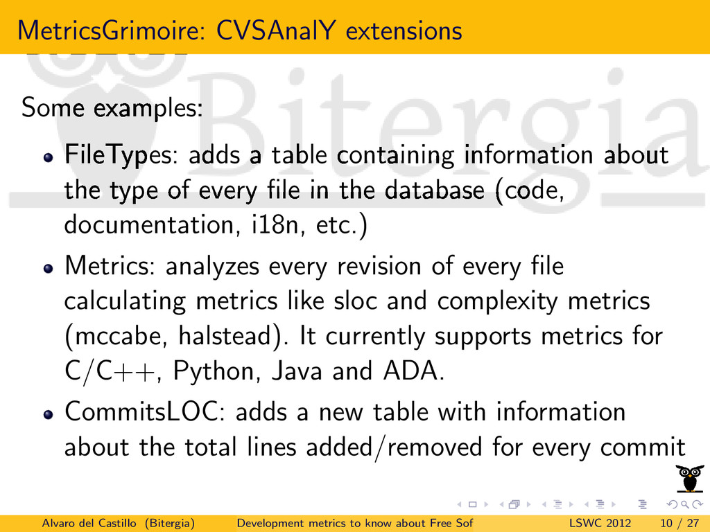 MetricsGrimoire: CVSAnalY extensions Some examp...