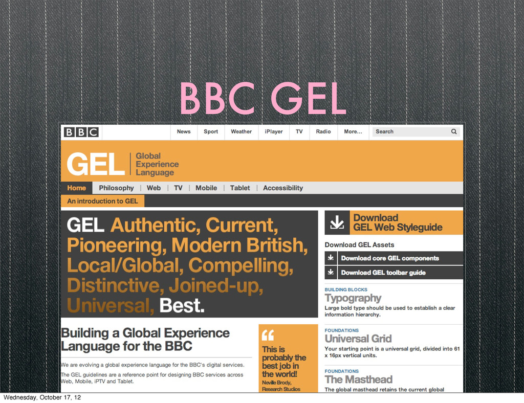 BBC GEL Wednesday, October 17, 12