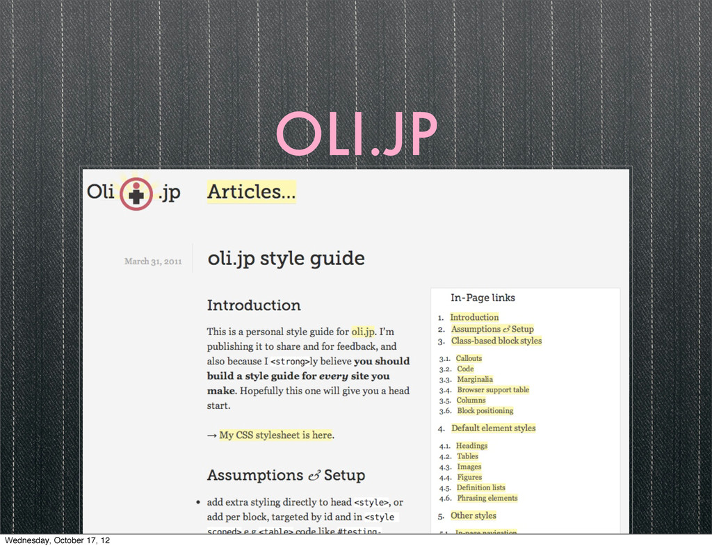 OLI.JP Wednesday, October 17, 12