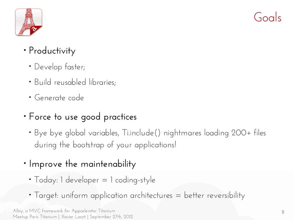 11 Alloy, a MVC framework for Appcelerator Tita...