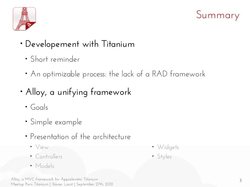3 Alloy, a MVC framework for Appcelerator Titan...