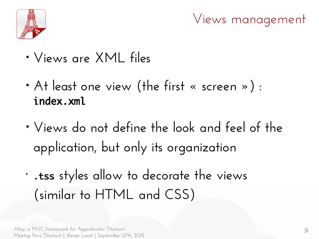 31 Alloy, a MVC framework for Appcelerator Tita...