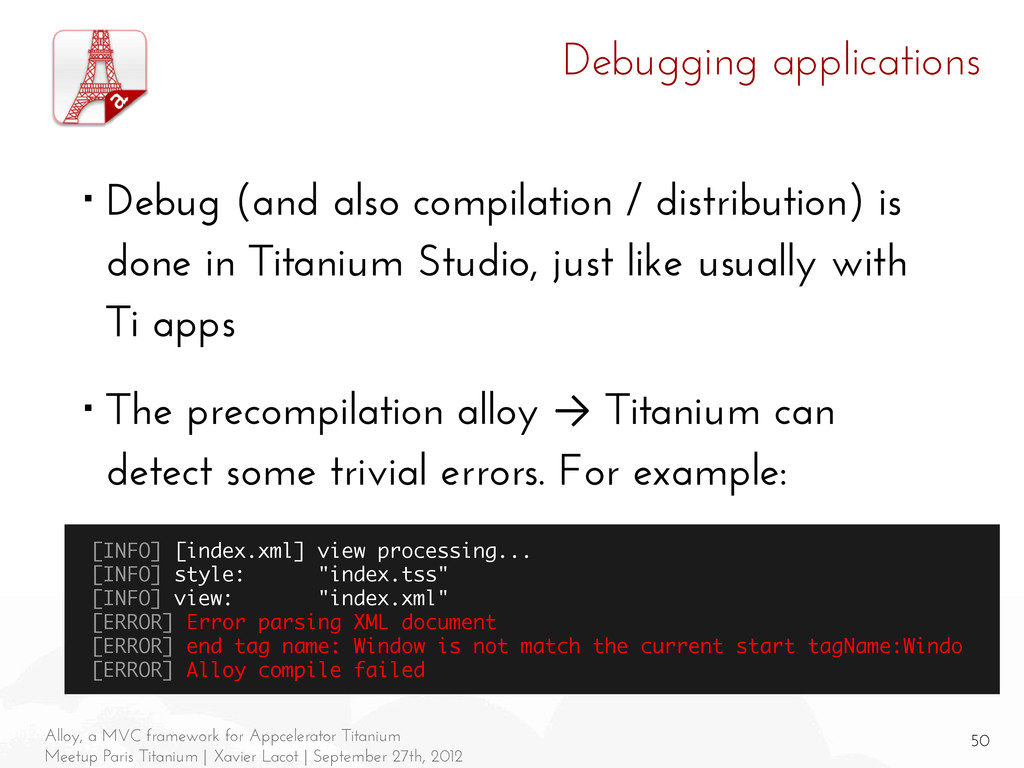 50 Alloy, a MVC framework for Appcelerator Tita...
