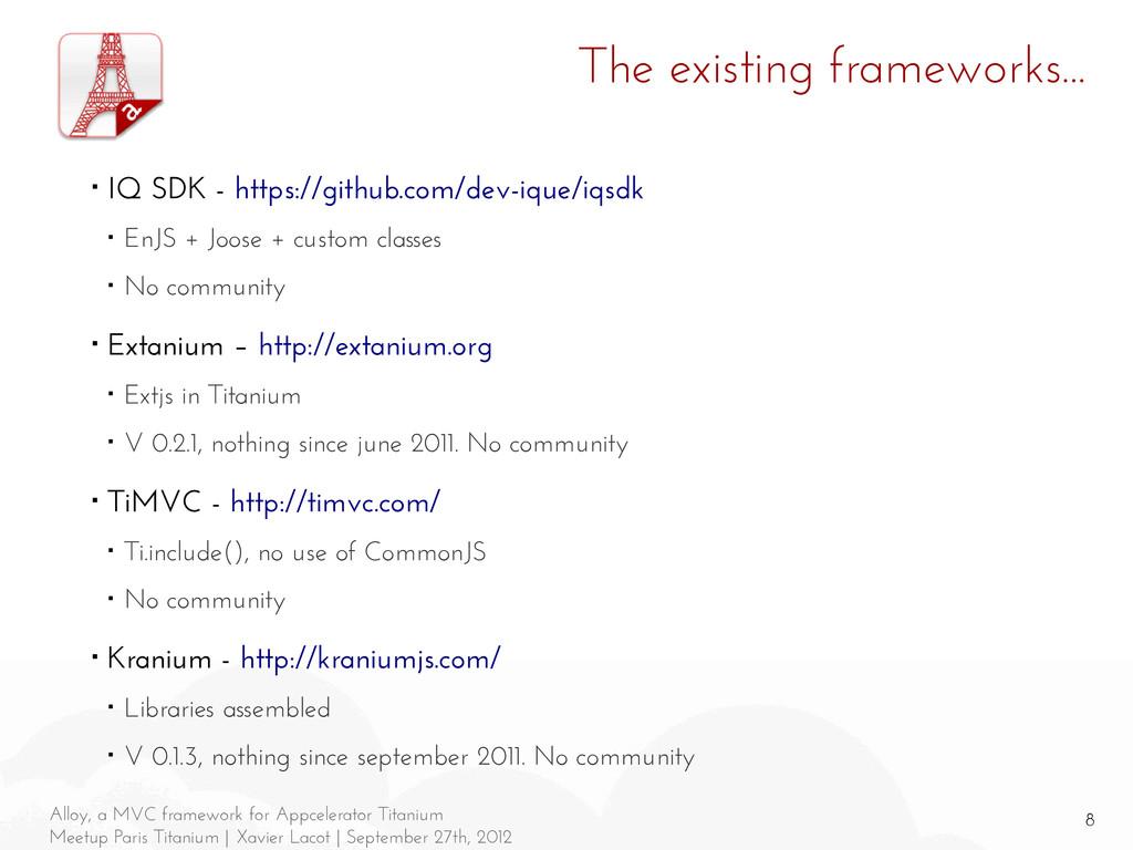 8 Alloy, a MVC framework for Appcelerator Titan...