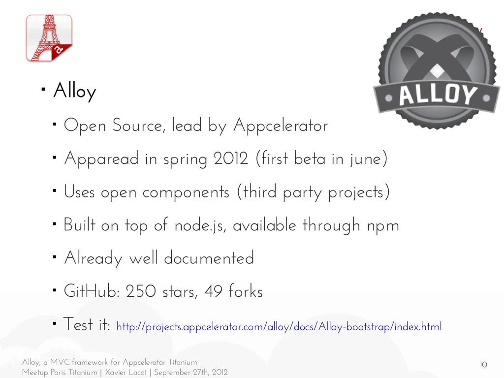 10 Alloy, a MVC framework for Appcelerator Tita...
