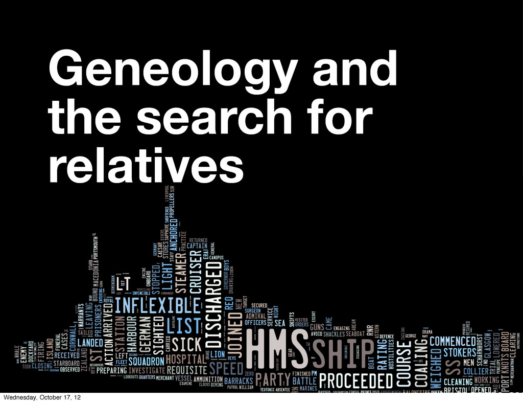Geneology and the search for relatives Wednesda...