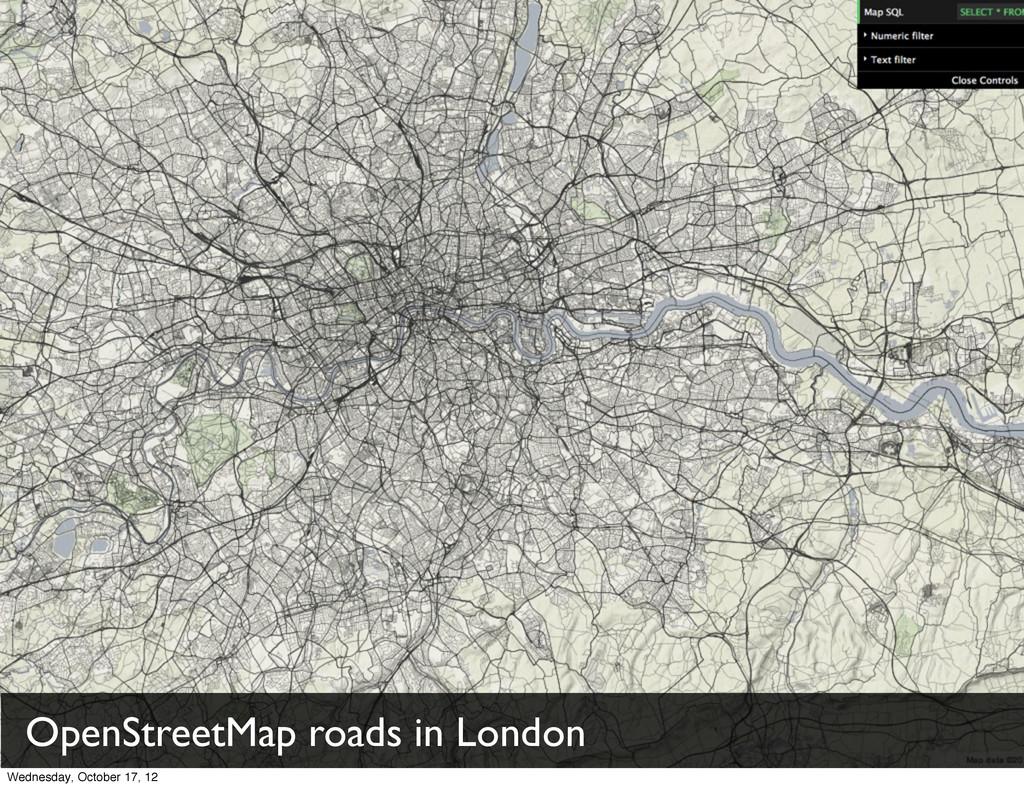 OpenStreetMap roads in London Wednesday, Octobe...