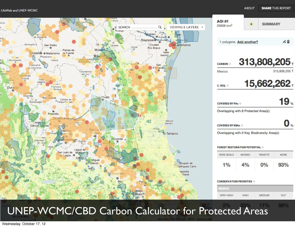 UNEP-WCMC/CBD Carbon Calculator for Protected A...
