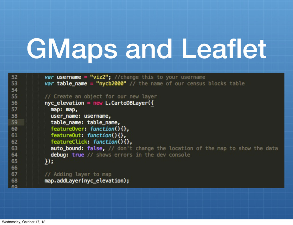 GMaps and Leaflet Wednesday, October 17, 12