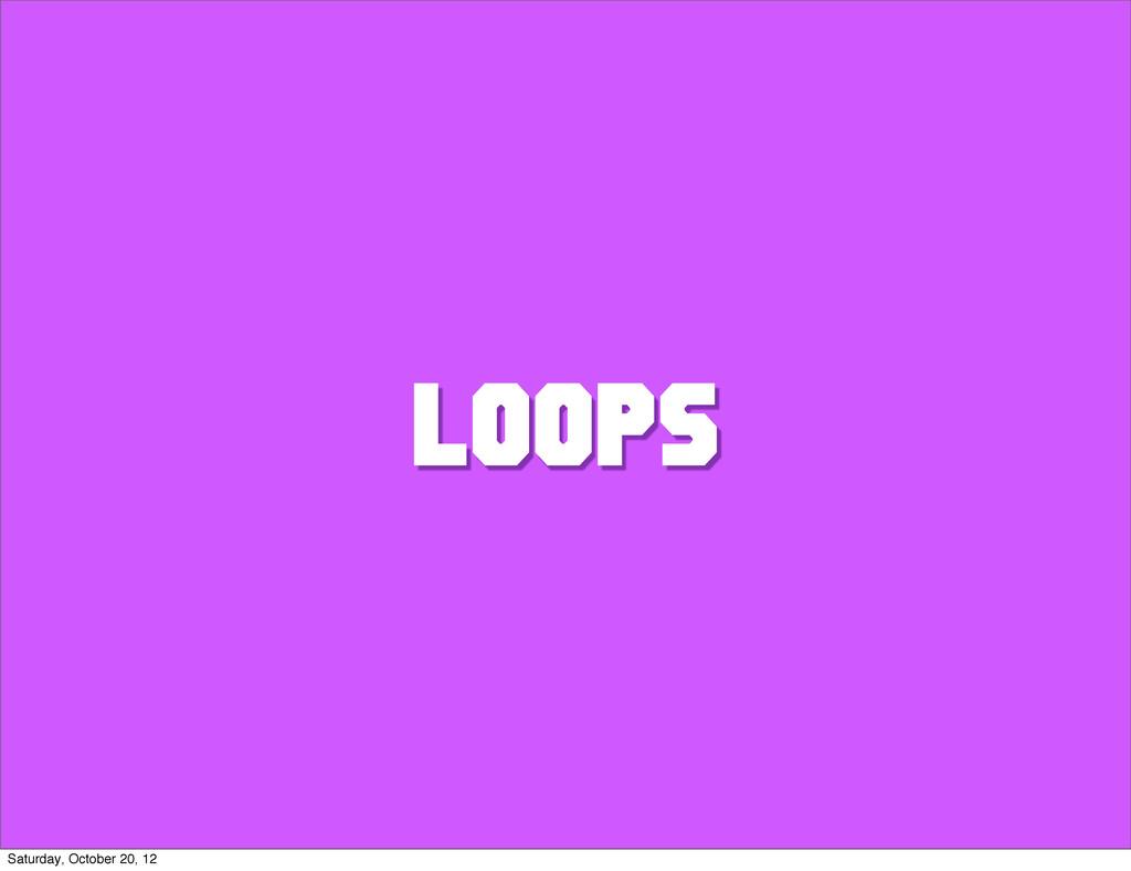 LOOPS Saturday, October 20, 12