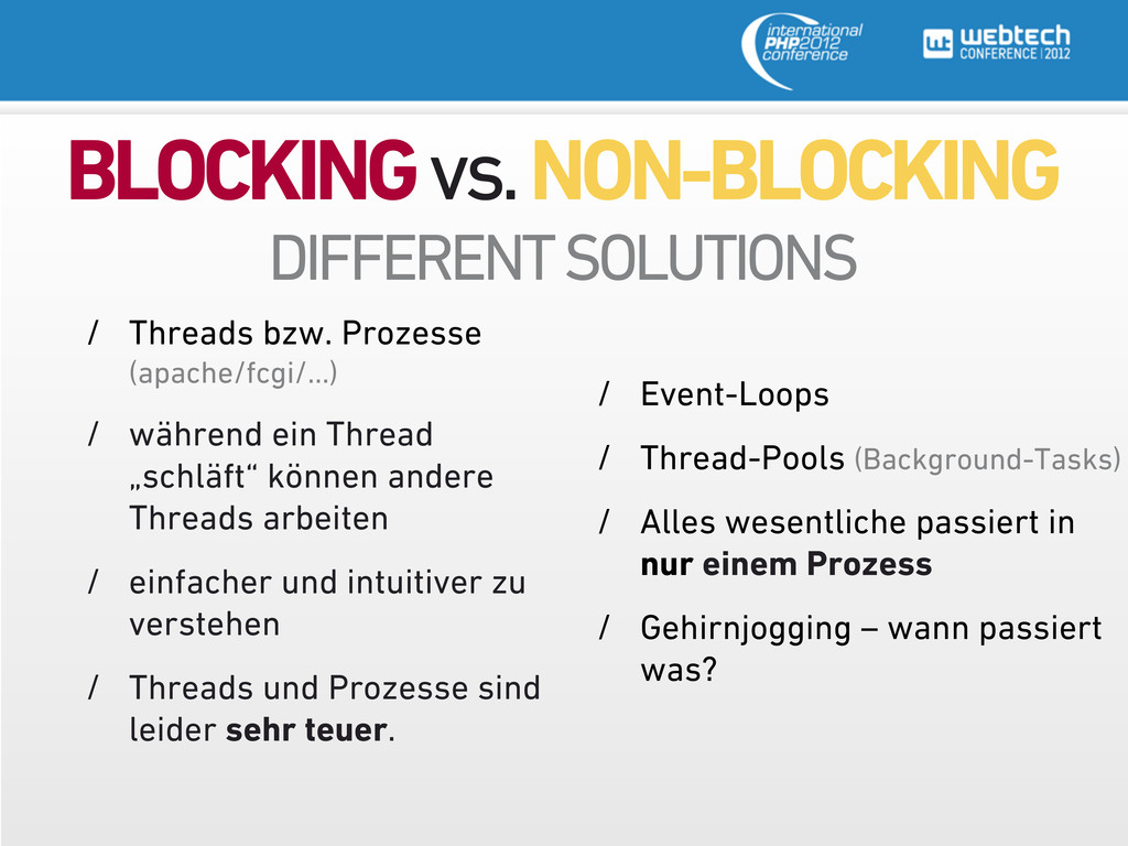BLOCKING vs. NON-BLOCKING DIFFERENT SOLUTIONS /...