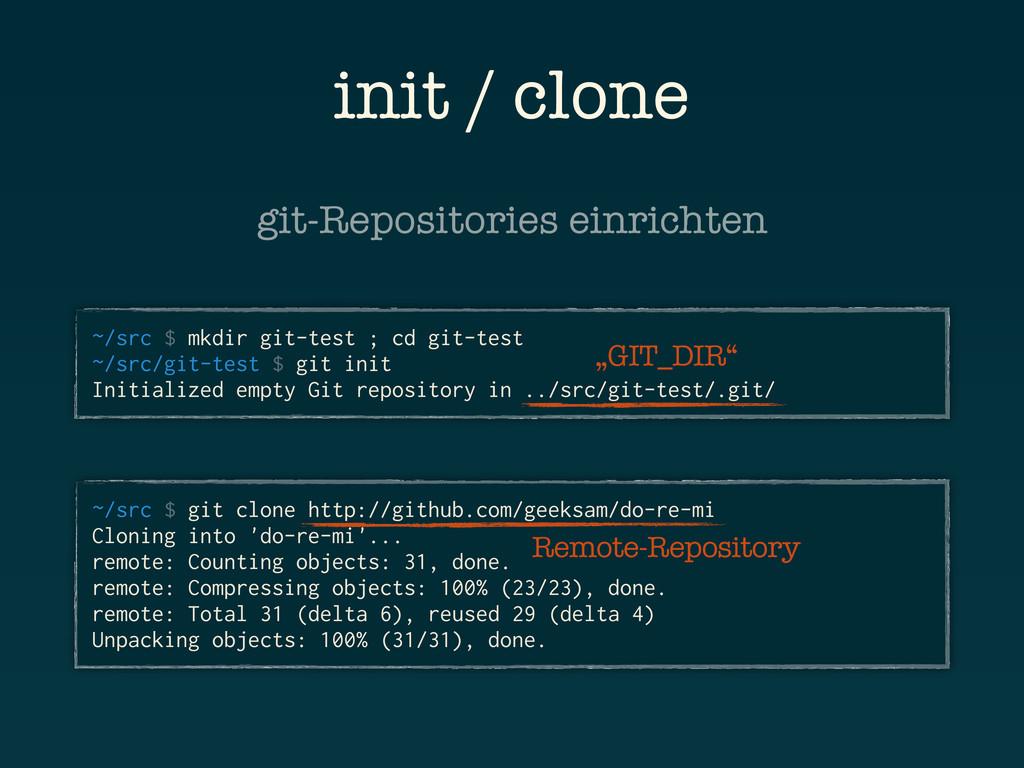 init / clone ~/src $ mkdir git-test ; cd git-te...