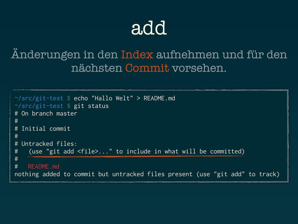 "add ~/src/git-test $ echo ""Hallo Welt"" > README..."