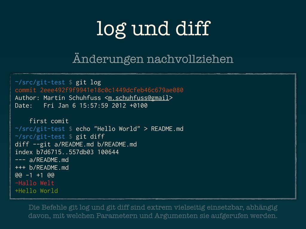 log und diff ~/src/git-test $ git log commit 2e...