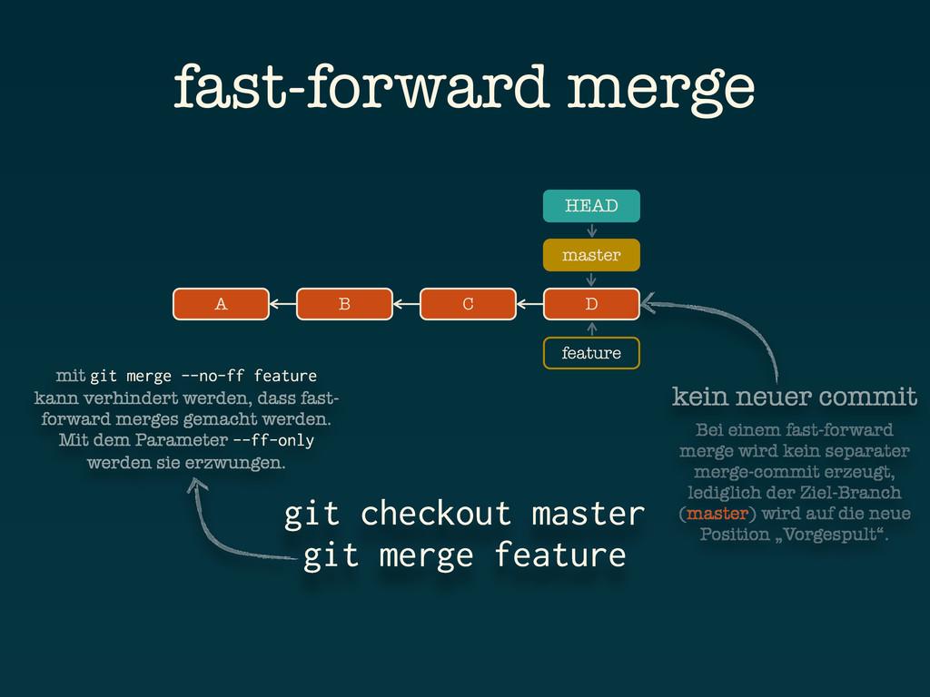 feature A B C git checkout master git merge fea...