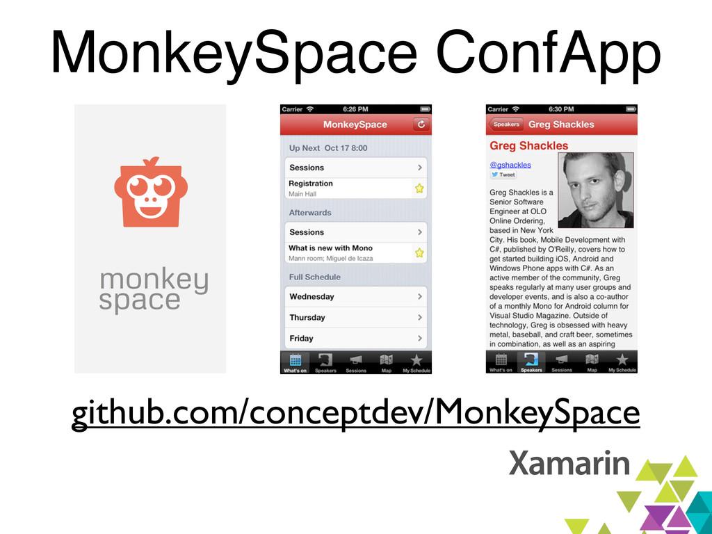 MonkeySpace ConfApp github.com/conceptdev/Monke...