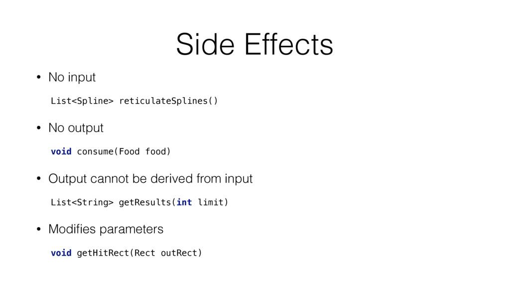 Side Effects • No input List<Spline> reticulate...