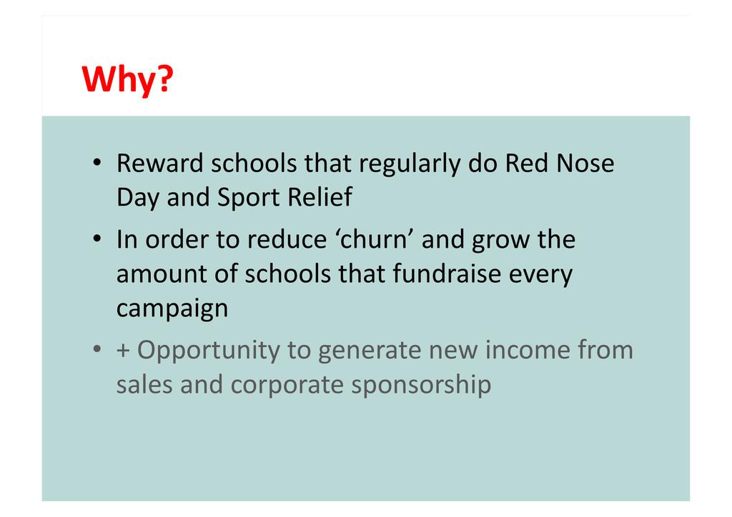 Why?  • Reward schools that regula...