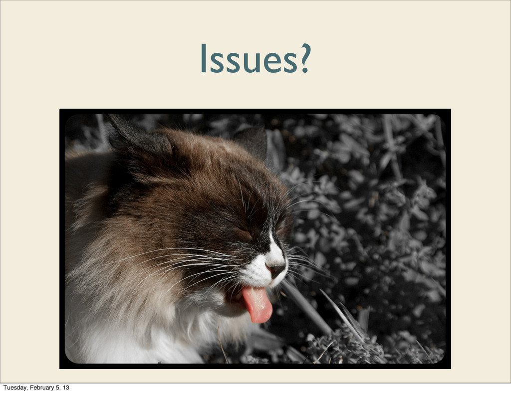 Issues? Tuesday, February 5, 13
