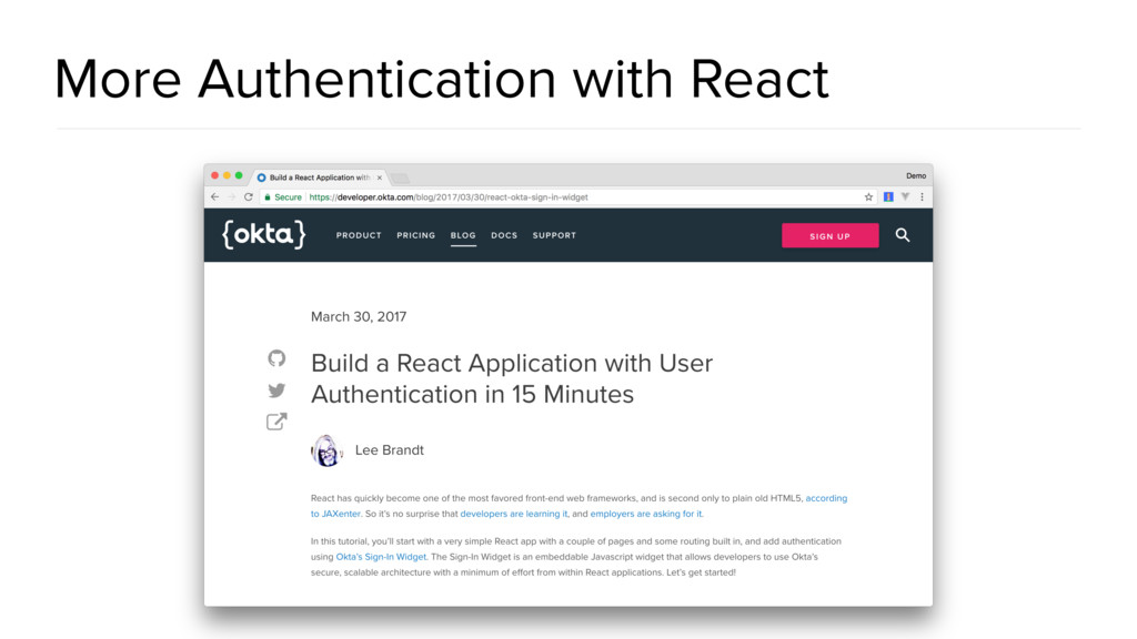 More Authentication with React