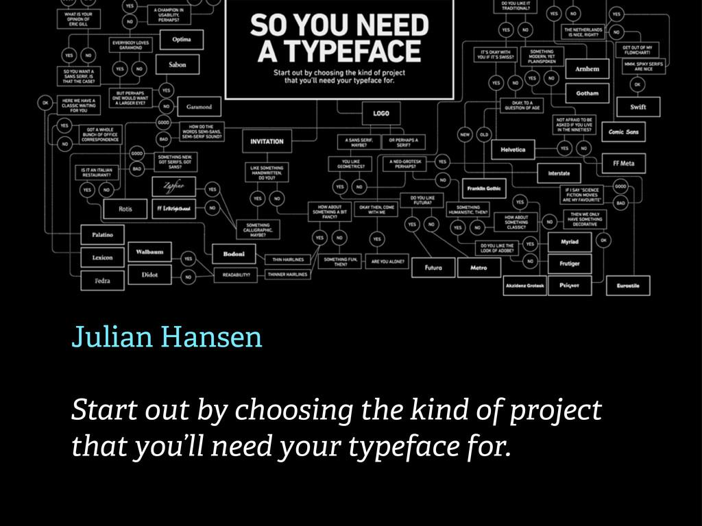 Julian Hansen Start out by choosing the kind of...