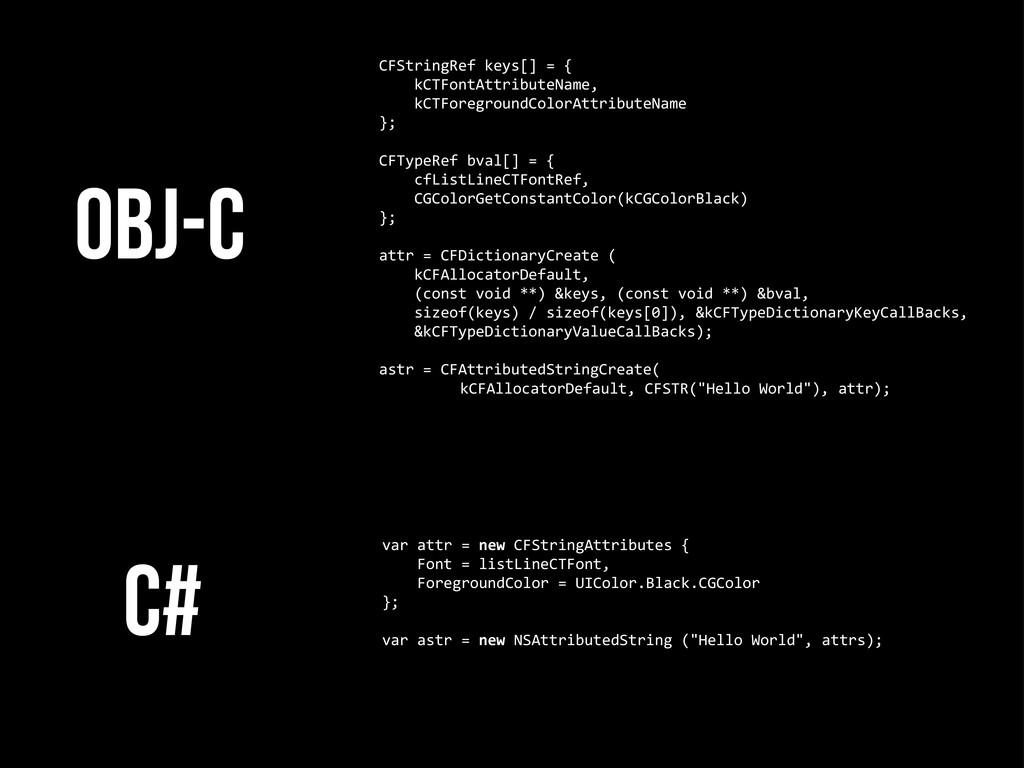 C# CFStringRef keys[] = {    ...