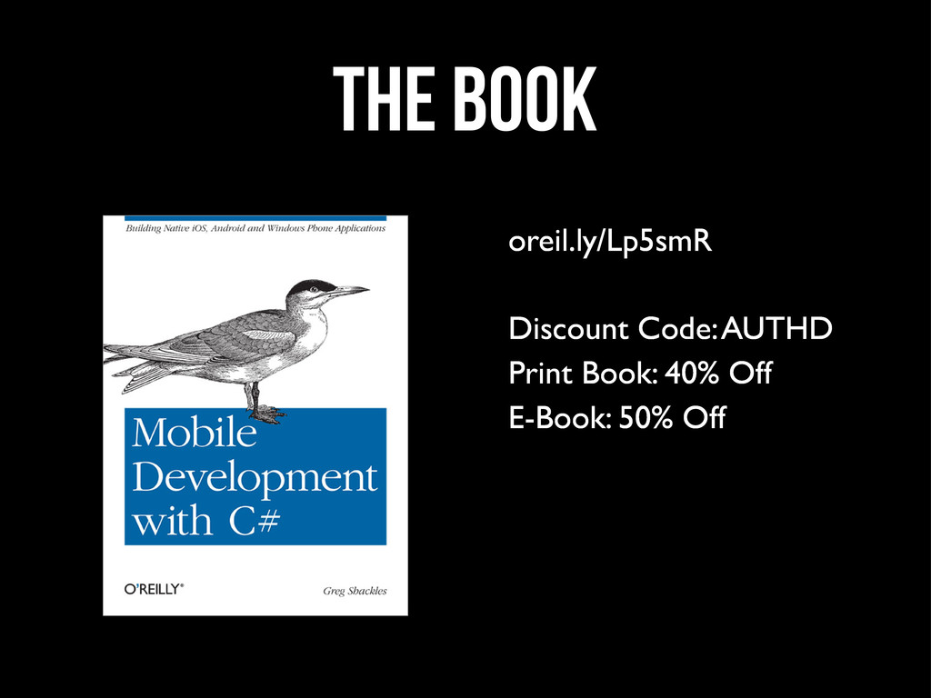 the Book oreil.ly/Lp5smR Discount Code: AUTHD P...
