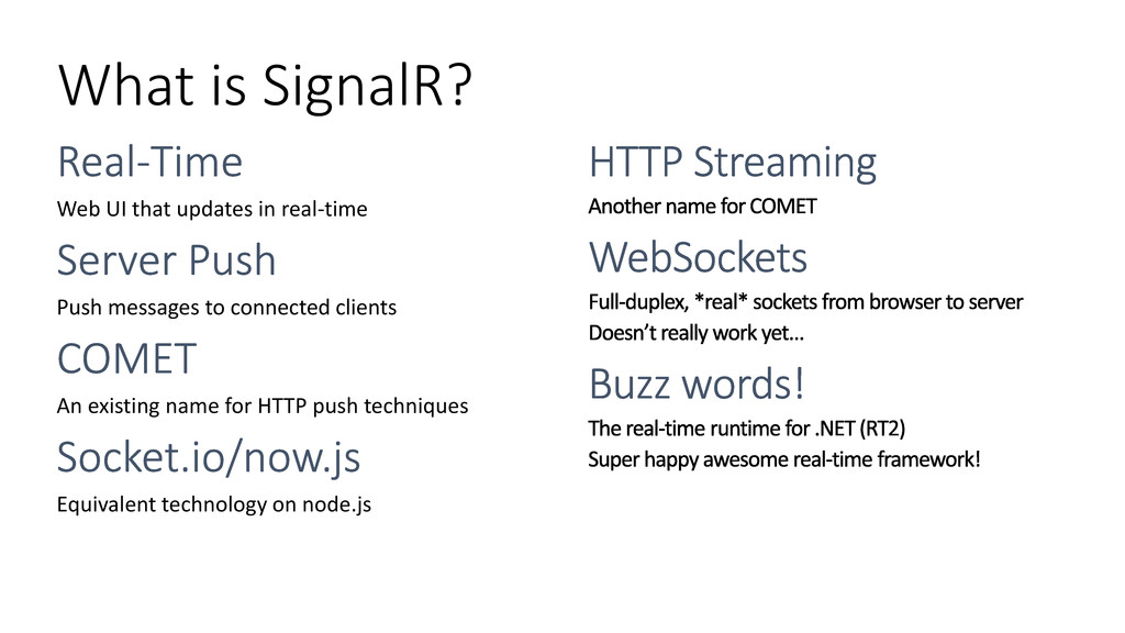 What is SignalR? Web UI that updates in real-ti...