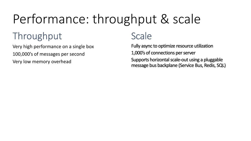 Performance: throughput & scale Very high perfo...