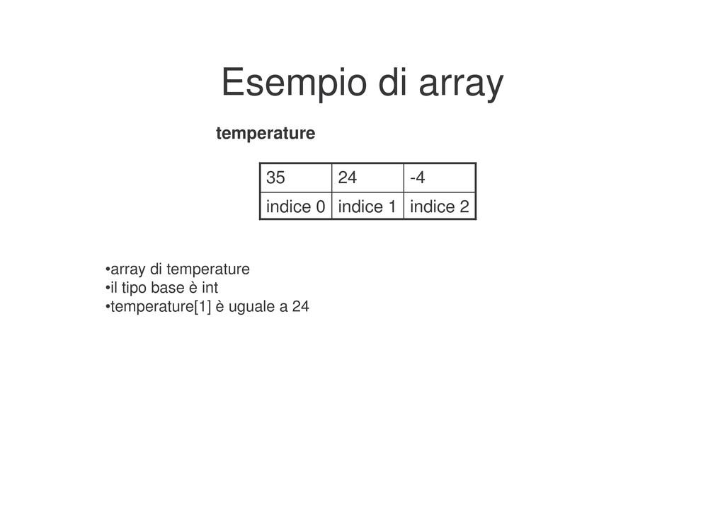 Esempio di array indice 2 indice 1 indice 0 -4 ...
