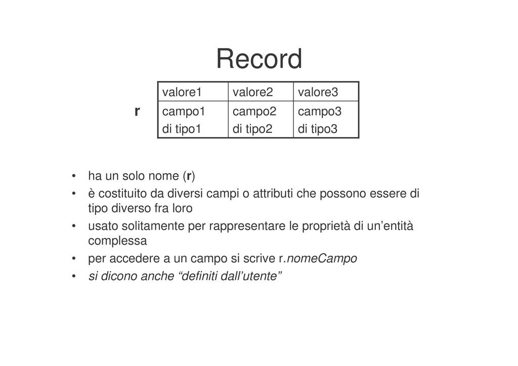 Record campo3 di tipo3 campo2 di tipo2 campo1 d...