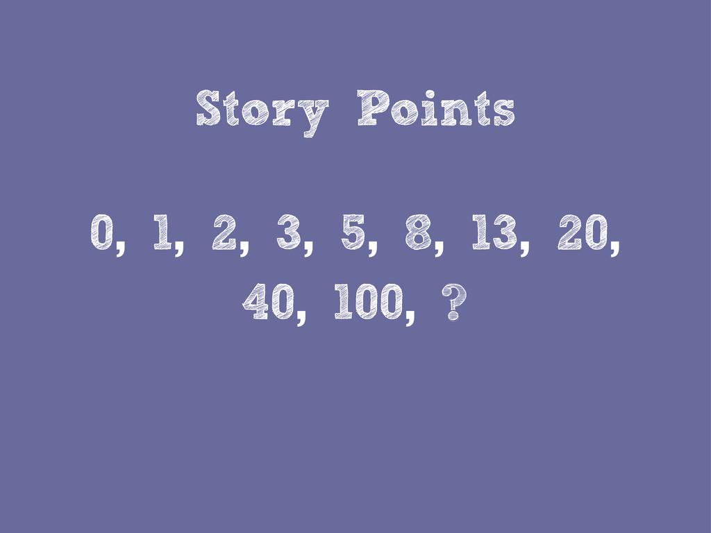 Story Points 0, 1, 2, 3, 5, 8, 13, 20, 40, 100,...