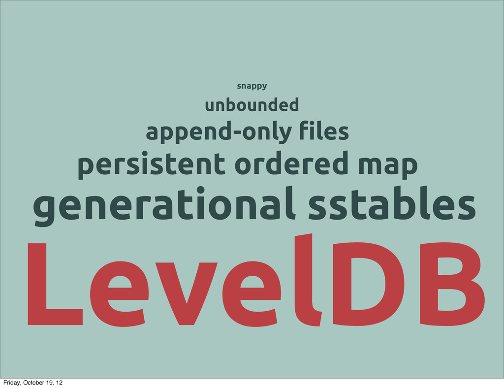 LevelDB persistent ordered map generational sst...