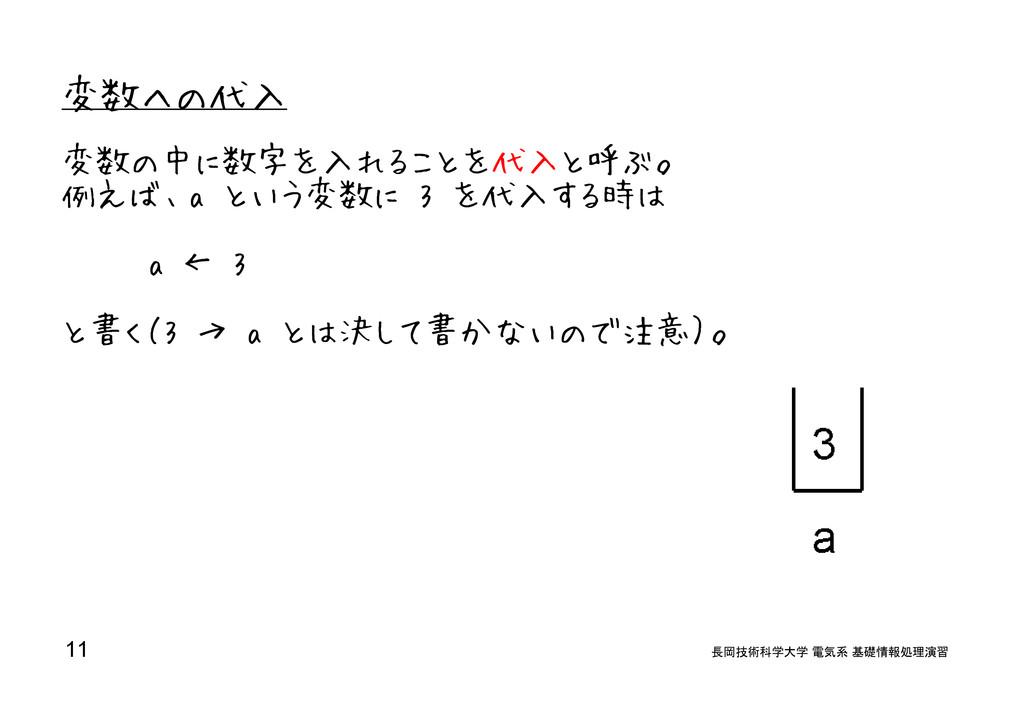 変数への代入 変数の中に数字を入れることを代入と呼ぶ。 例えば、a という変数に 3 を代入す...