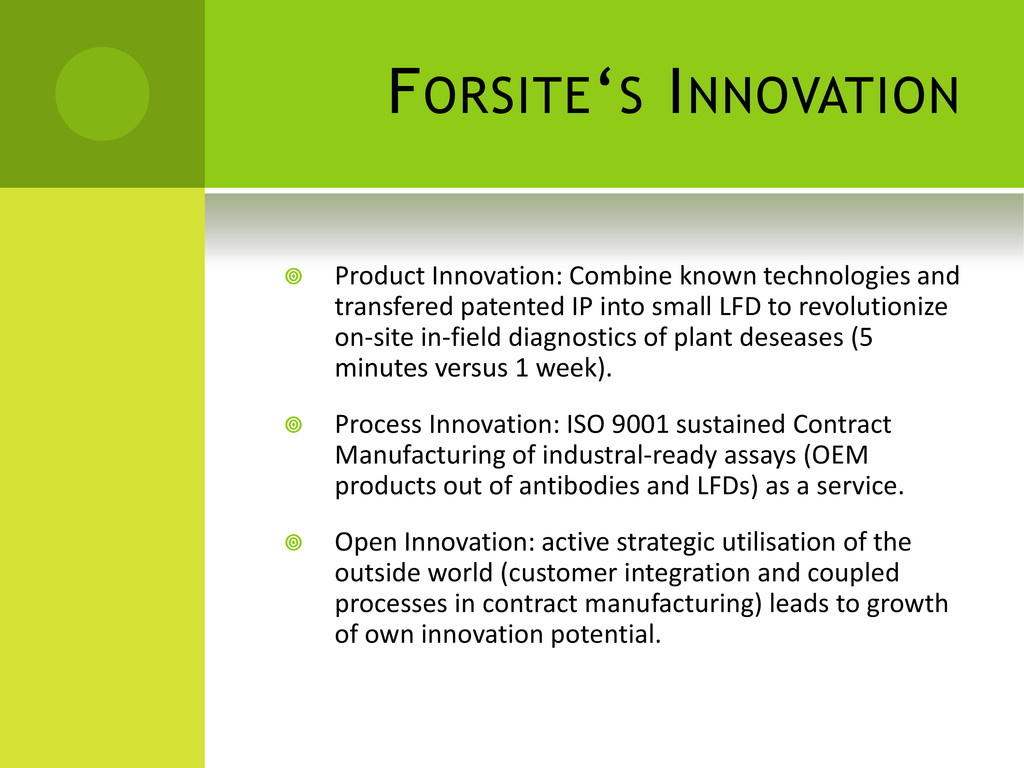 FORSITE'S INNOVATION  Product Innovation: Comb...